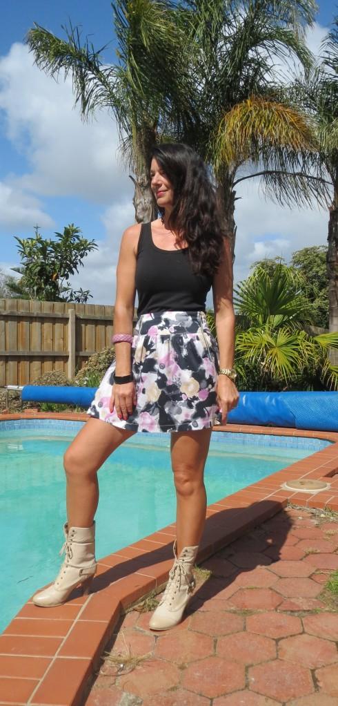 Beige boots, floral skirt 2