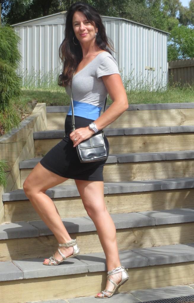 Black, grey, blue mini dress 2
