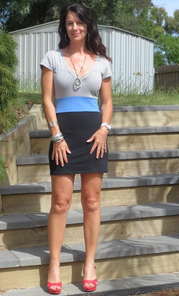 Black, grey, blue mini dress, pink heels