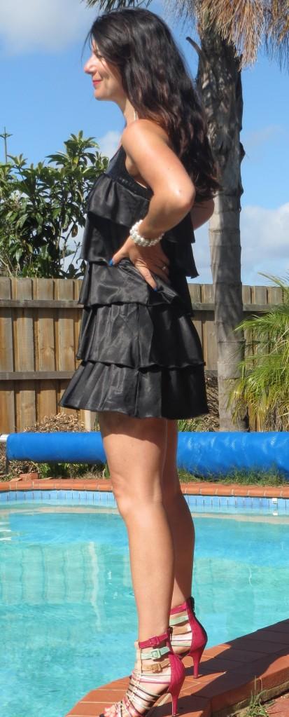 Black ruffle, sequin dess, side