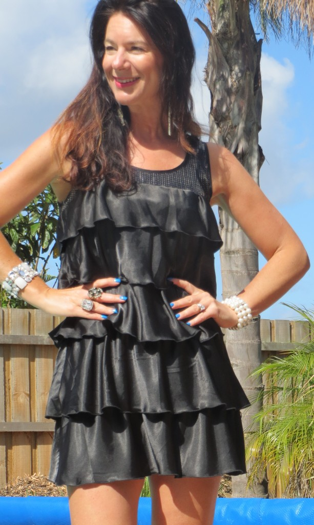 Black ruffle, sequin dress close