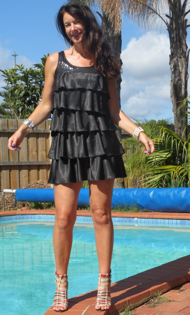 Black ruffle, sequin dress