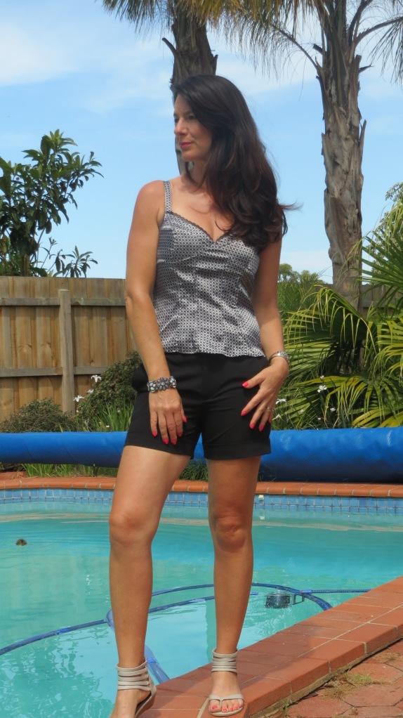 Black Zara shorts, sandals