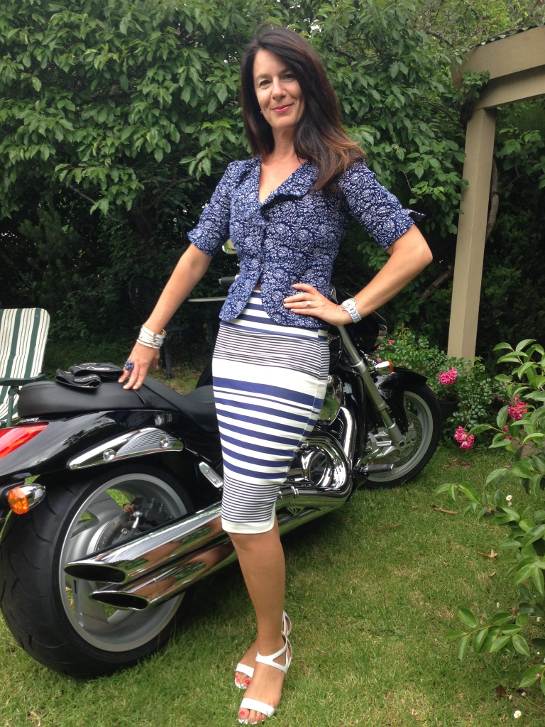 Motorbike-blue & white striped skirt 2