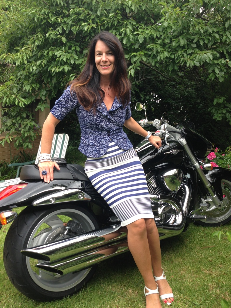 Motorbike -blue & white striped skirt
