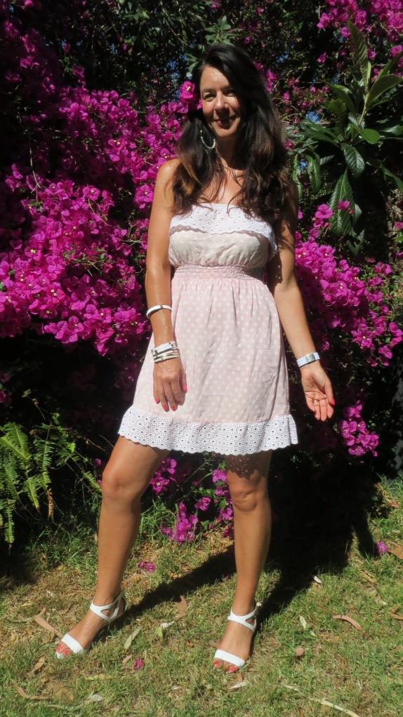 Pink polka-dot strapless dress 2