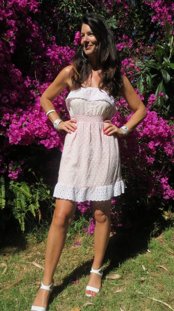 Pink polka-dot strapless dress