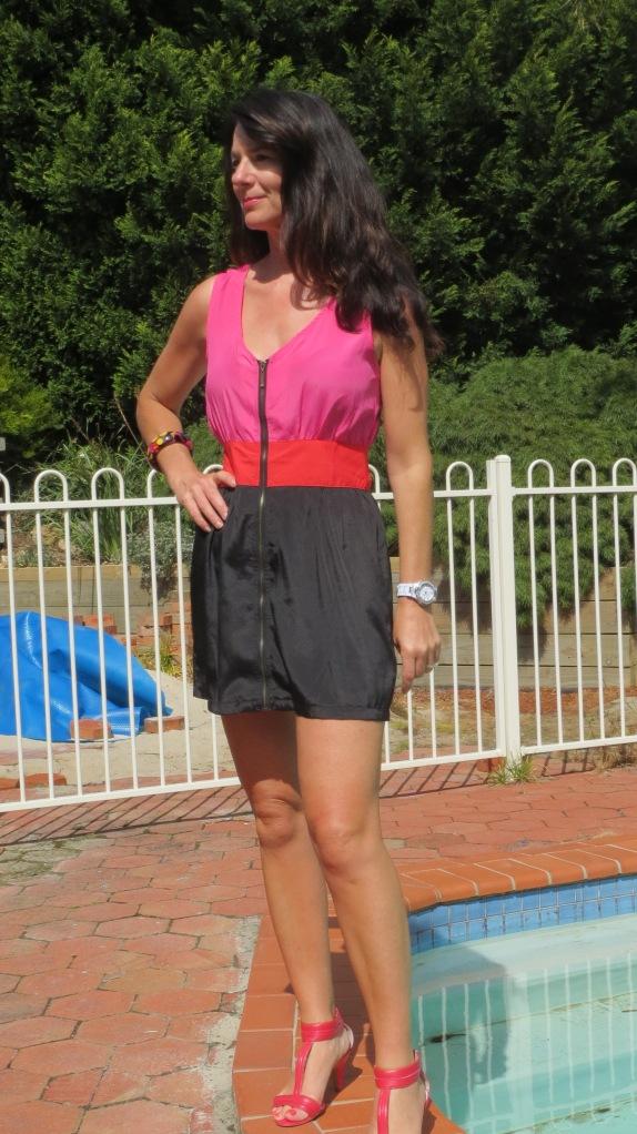 Pink, red, black dress 2