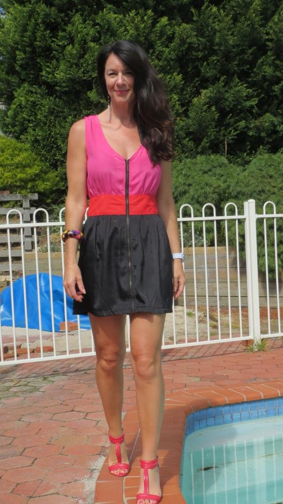Pink, red, black dress