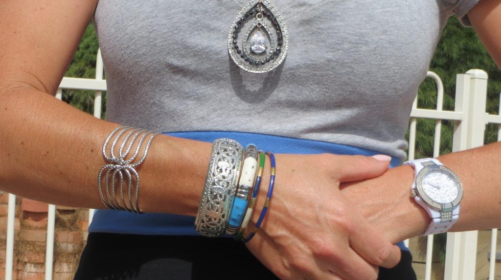 Silver cuff, bangles, diamond necklace