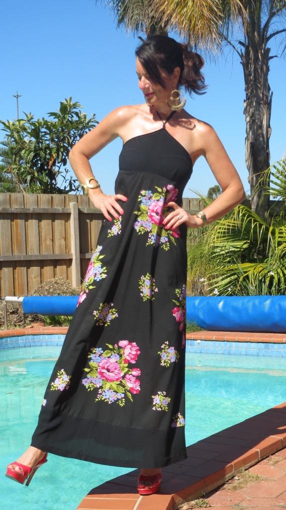 Vintage floral maxi, pink heels