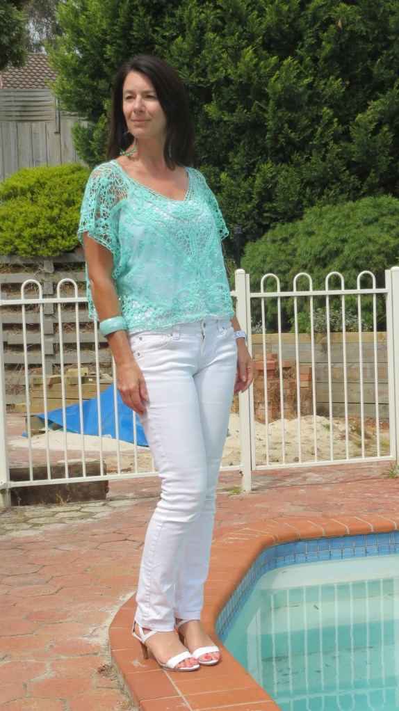 White jeans, green lace top 2
