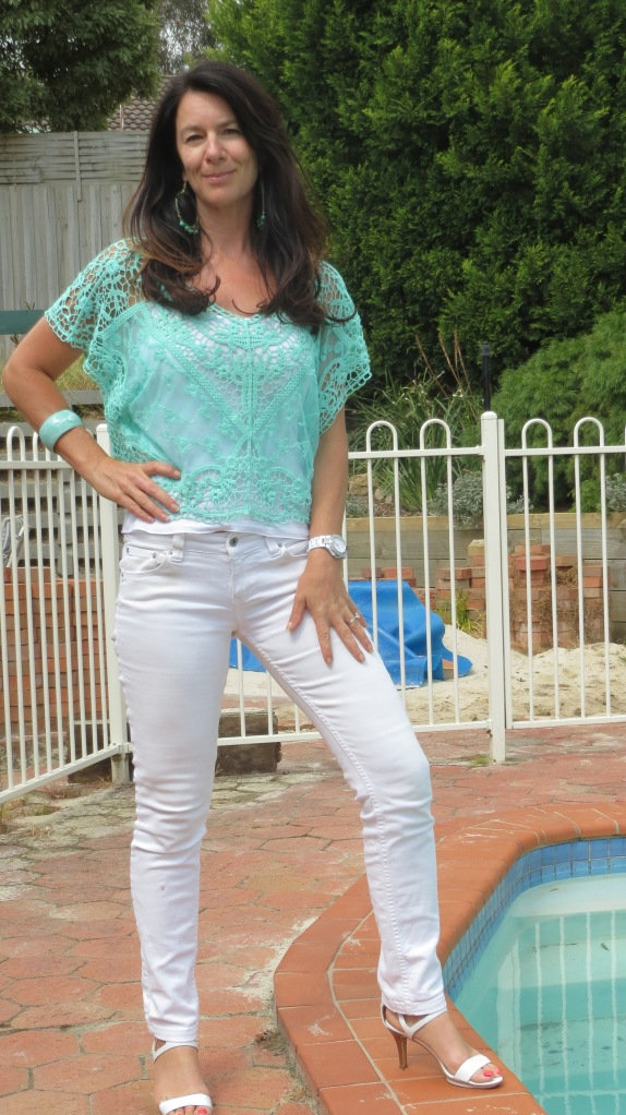 White jeans, green lace top