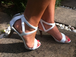 White Nine West heels