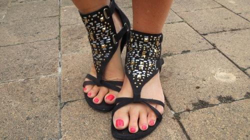 Black, gold, silver sandals