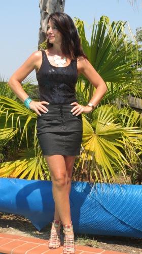 Black ruffle skirt, sequinned top, heels