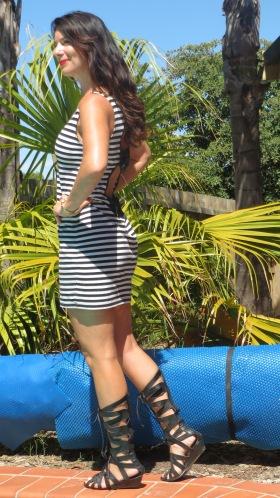 Cut-out black, white striped dress 2