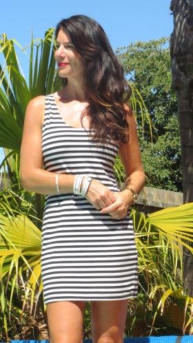 Cut-out black, white striped dress