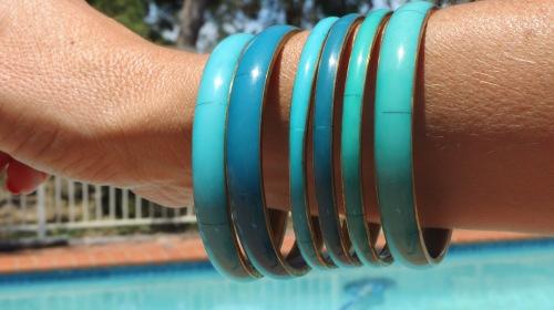 Green bracelets from Mum