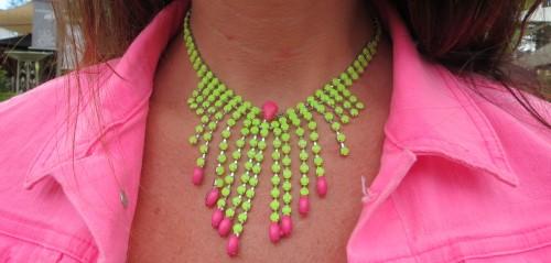 Neon green & pink neckpiece