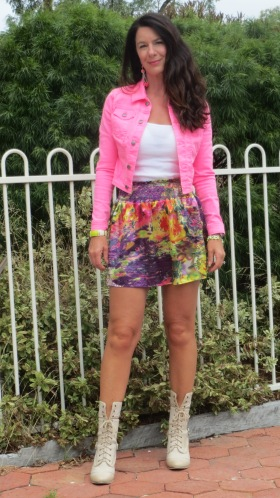 Neon pink jkt, color silk skirt, boots 5
