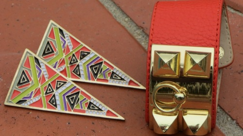 Orange cuff, triangle earrings