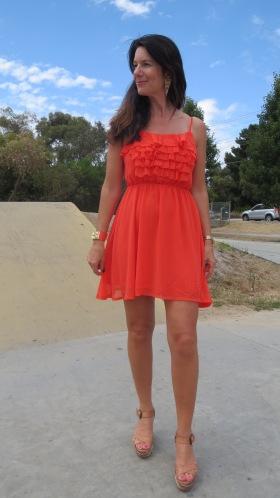 Orange ruffle dress 1