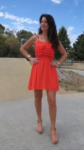 Orange ruffle dress 2
