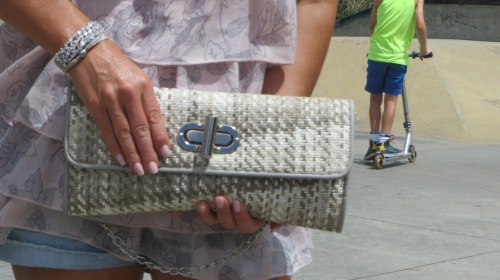 Raffia & metal clutch bag 1
