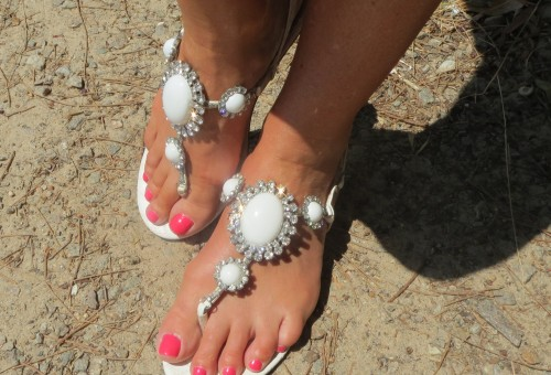White diamante sandals