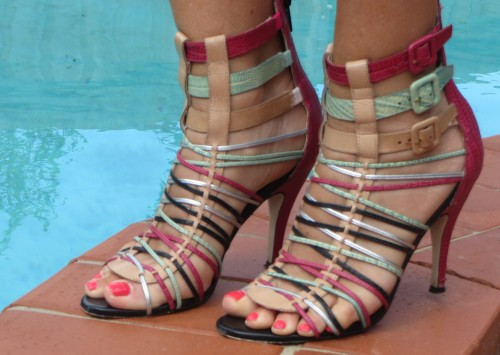 Wittner multi-color strappy heels