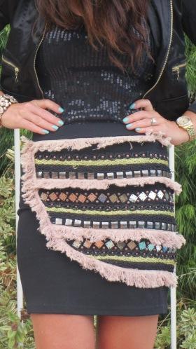 Black embellished skirt, close 1