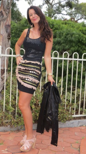Black embellished skirt, full 2