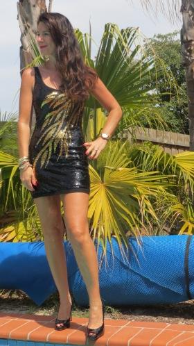 Black & gold sequinned dress 1