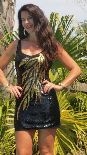 Black & gold sequinned dress 2