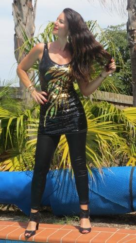 Black & gold sequinned dress 4