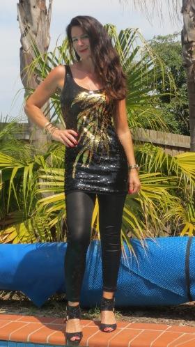 Black & gold sequinned dress 5