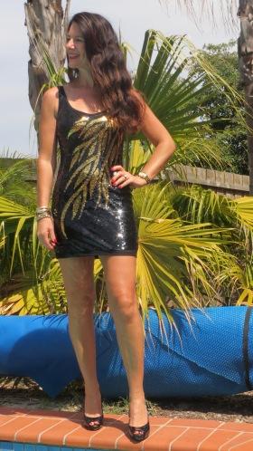 Black & gold sequinned dress 6