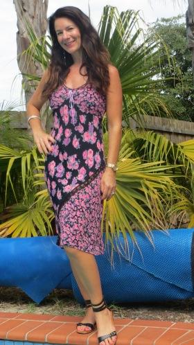 Black & pink floral dress 2