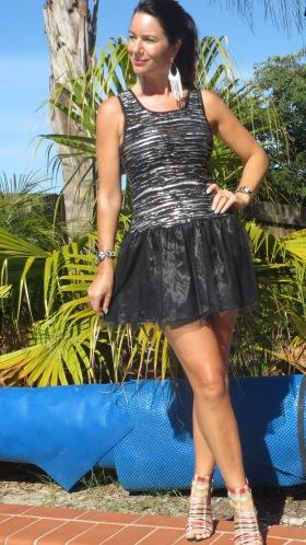 Black & silver tutu dress, heels 3