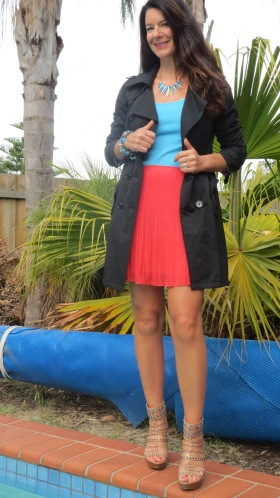 Black trench, watermelon skirt
