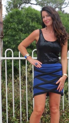 Blue & black criss-cross skirt 4