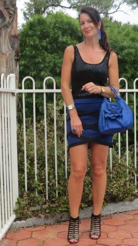 Blue & black criss-cross skirt 6