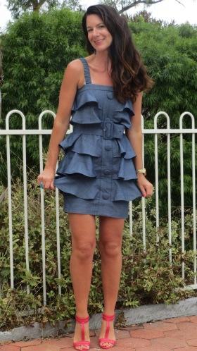 Denim ruffle dress 1