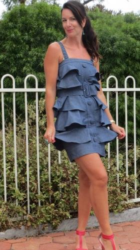 Denim ruffle dress 3