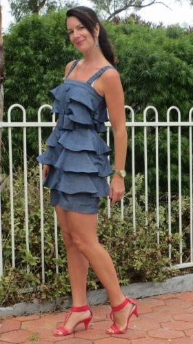Denim ruffle dress 4