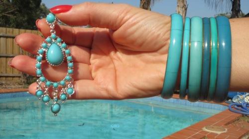 Green Diva chandelier earrings, matching bracelets