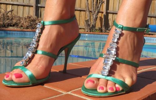 Green strappy, diamante heels