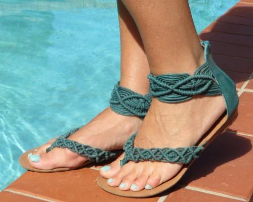 Green Target sandals