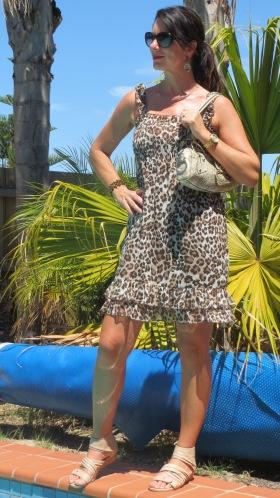 Leopard print dress, flats